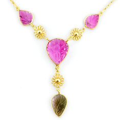 16.15cts carving natural watermelon tourmaline 14k gold collector necklace r71593