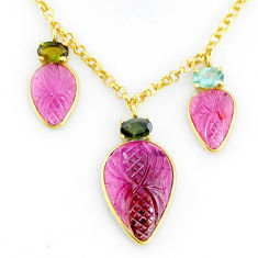 14.40cts carving natural watermelon tourmaline 14k gold collector necklace r71594