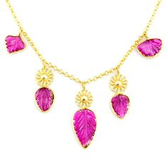 15.85cts carving natural watermelon tourmaline 14k gold collector necklace r71597