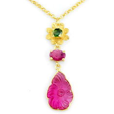 8.14cts carving natural watermelon tourmaline 14k gold collector necklace r71598