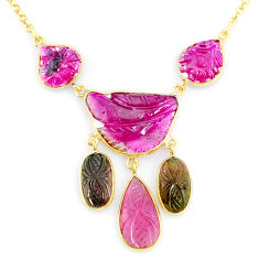 20.35cts carving natural watermelon tourmaline 14k gold collector necklace r71599