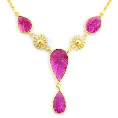 13.36cts carving natural watermelon tourmaline 925 silver gold necklace r71602