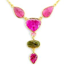 14.63cts carving natural watermelon tourmaline 14k gold collector necklace r71482