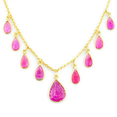 14.12cts carving natural watermelon tourmaline 14k gold collector necklace r71486