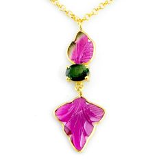 11.23cts carving natural watermelon tourmaline 14k gold collector necklace r71488