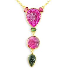 14.26cts carving natural watermelon tourmaline 14k gold collector necklace r71493