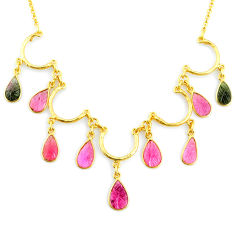 20.37cts carving natural watermelon tourmaline 14k gold collector necklace r71494