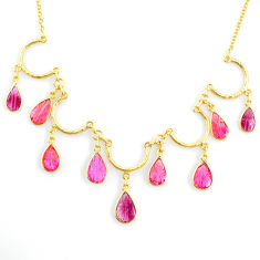 21.69cts carving natural watermelon tourmaline 14k gold collector necklace r71495