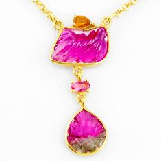 11.58cts carving natural watermelon tourmaline 14k gold collector necklace r71496