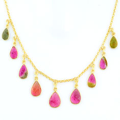 18.70cts carving natural watermelon tourmaline 14k gold collector necklace r71501