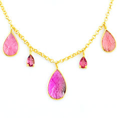 11.57cts carving natural watermelon tourmaline 14k gold collector necklace r71505