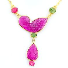 12.99cts carving natural watermelon tourmaline 14k gold collector necklace r71507