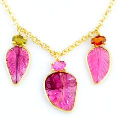 13.41cts carving natural watermelon tourmaline 14k gold collector necklace r71511