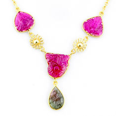 17.20cts carving natural watermelon tourmaline 14k gold collector necklace r71512