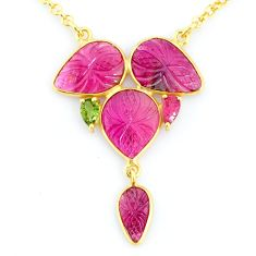 13.50cts carving natural watermelon tourmaline 14k gold collector necklace r71514