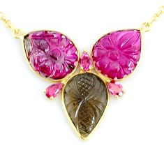18.15cts carving natural watermelon tourmaline 14k gold collector necklace r71520