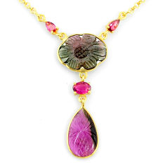 13.77cts carving natural watermelon tourmaline 14k gold collector necklace r71528