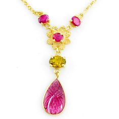 7.22cts carving natural watermelon tourmaline 14k gold collector necklace r71546