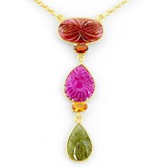 14.90cts carving natural watermelon tourmaline 14k gold collector necklace r71555