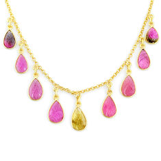 19.25cts carving natural watermelon tourmaline 14k gold collector necklace r71556
