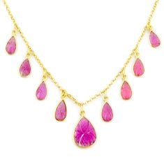 15.02cts carving natural watermelon tourmaline 14k gold collector necklace r71574