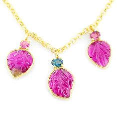 11.57cts carving natural watermelon tourmaline 14k gold collector necklace r71587