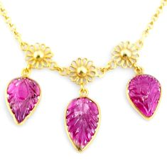 15.80cts carving natural watermelon tourmaline silver 14k gold necklace r71605