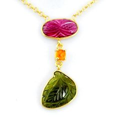 10.29cts carving natural watermelon tourmaline silver 14k gold necklace r71608