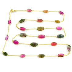 46.73cts carving natural watermelon tourmaline 14k gold collector necklace r71500