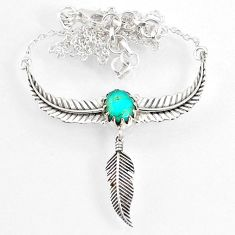 3.88cts dreamcatcher green arizona mohave turquoise 925 silver necklace r67836