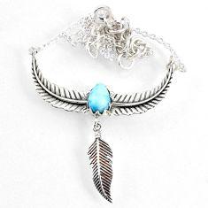2.97cts dreamcatcher natural blue larimar 925 sterling silver necklace r67829