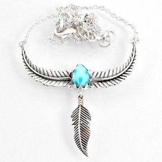2.96cts dreamcatcher natural blue larimar 925 sterling silver necklace r67831