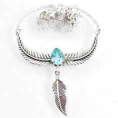 2.91cts dreamcatcher natural blue topaz 925 sterling silver necklace r67832