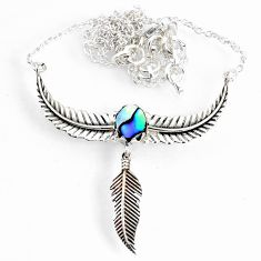 2.31cts dreamcatcher natural green abalone paua seashell silver necklace r67821