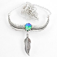 2.31cts dreamcatcher natural green abalone paua seashell silver necklace r67833