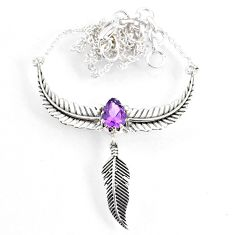 2.84cts dreamcatcher natural purple amethyst pear 925 silver necklace r67827