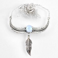 1.42cts dreamcatcher natural rainbow moonstone 925 silver necklace r67840