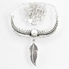 1.35cts dreamcatcher natural white pearl 925 sterling silver necklace r67837