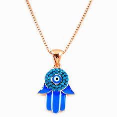 Evil eye talismans turquoise 925 silver gold hand of god hamsa necklace c20529