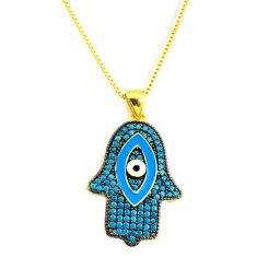Evil eye talismans turquoise 925 silver gold hand of god hamsa necklace c20531