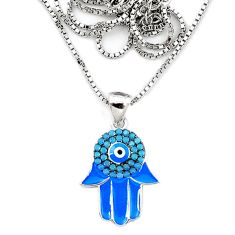 Evil eye talismans turquoise 925 silver hand of god hamsa necklace a66221 c24975