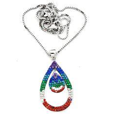 Fine blue turquoise topaz quartz 925 sterling silver necklace c20534