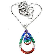 Fine blue turquoise topaz quartz 925 sterling silver necklace c20537