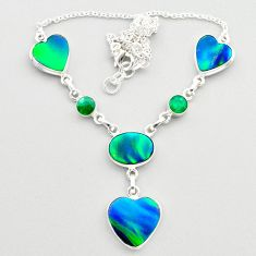 21.40cts fine northern lights aurora opal emerald 925 silver necklace t45241
