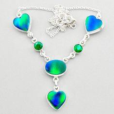21.04cts fine northern lights aurora opal emerald 925 silver necklace t45242