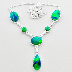 21.40cts fine northern lights aurora opal emerald 925 silver necklace t45245