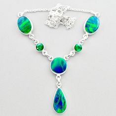 21.40cts fine northern lights aurora opal emerald 925 silver necklace t45247