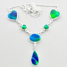 22.48cts fine northern lights aurora opal emerald 925 silver necklace t45250