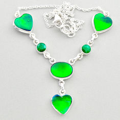 21.04cts fine northern lights aurora opal emerald oval silver necklace t45243