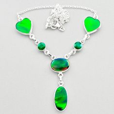 22.03cts fine northern lights aurora opal emerald oval silver necklace t45246